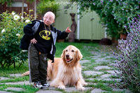 Only ONE WEEK after brain surgery for 3 aneurysms Nick visited the photographer's home where he played with the dog, danced and ate a good meal...