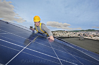 CentroSolar installer on roof in Daly City, CA