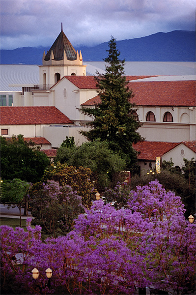 San Jose Civic Auditorium through blooms