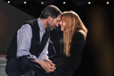 Steve Jobs with wife Laurene, the day the original multi-colored iMac was released on 8.15.98.  After Steve's worldwide satellite feed at a large venue near Apple, Laurene approached for this intimate moment. The iMac changed Apple's fortunes and became the world's best selling computer.
