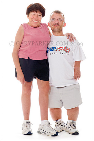 "Donna & Harold Weaver.  Donna, 4'8"", has Morquio Syndrome while husband Harold, 4'6"", has Achondroplasia"
