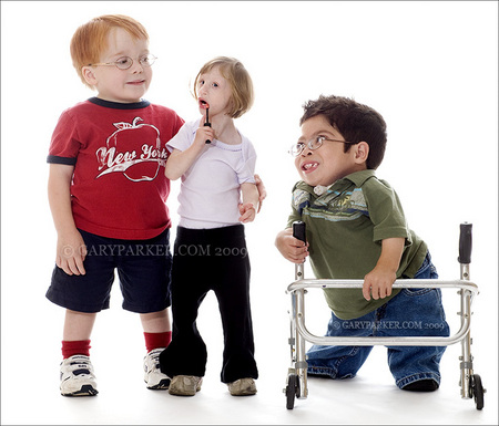 All eyes on the lady...  From left, Jake Petruzzelli, 6, (Type SED), Kenadie Jourdin-Bromley, 5, (Primordial Dwarfism) and Chance Peters, 8. (Type SED-C)