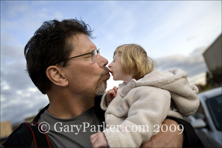 Kenadie (age 4) kisses Gary Parke
