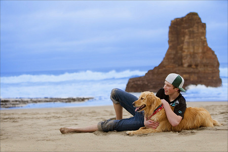 Golden Retriever with his boy...