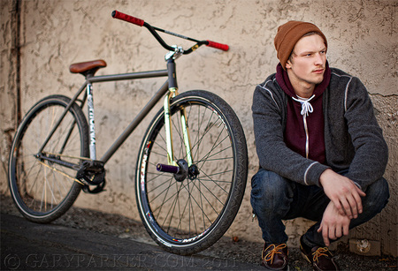 """Fixed Gear Freestyle"" bikes, sometimes called ""Fixies,"" has created a relatively new sport within cycling. These bikes have no brakes and are extremely difficult to master.  This is Forest Parker, a sponsored free style athlete."
