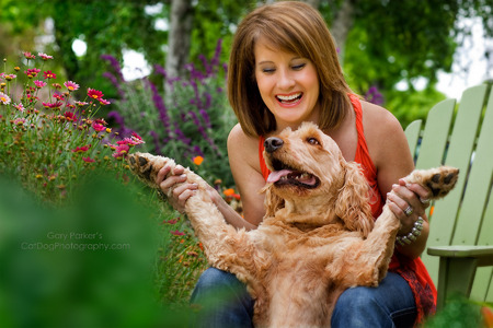 Sara Greenwood with Dharma, her meditating Golden Doodle... 