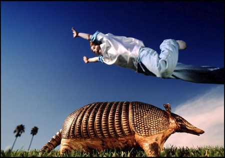 Practicing for Armadillo Olympics competition...